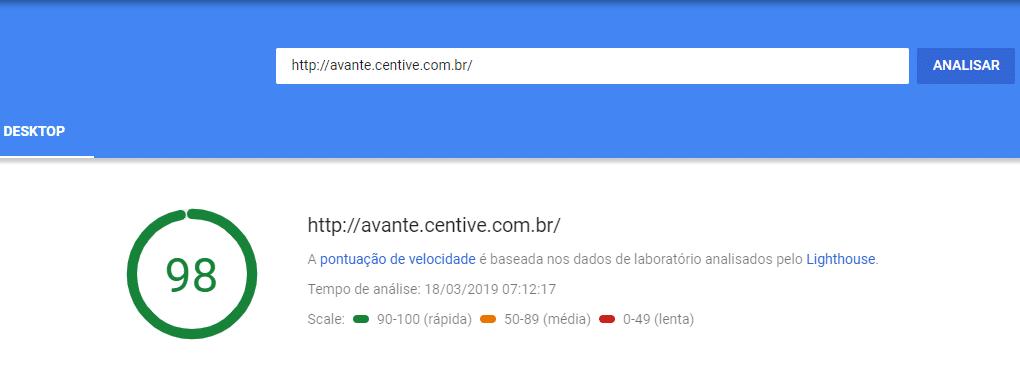 Pontuação tema centive avante no Google